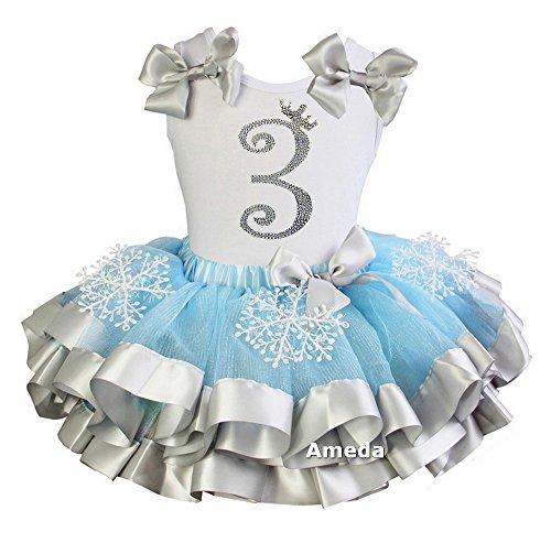 Kirei Sui Girls Blue Silver Snowflake Satin Tutu Princess 3rd Birthday Outfit (Elsa Outfit)