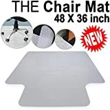 Office Chair Mat For Carpet Floors Plastic Carpet Floor Protector Mat Studded With Lip For Home Office Desk Chair 3MM Clear 48x36