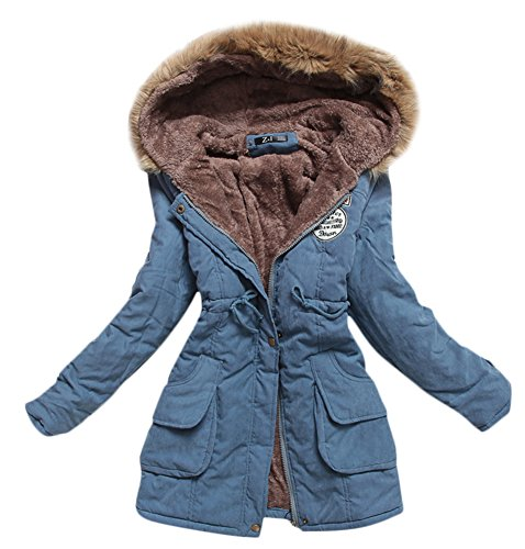Hooded Mid Length Coat (Women's Winter Thicken Mid-length Lamb Wool Faux Fur Hooded Padded Coats Jackets (S, Dark Blue))