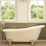 Luxury 67 inch Clawfoot Tub with Vintage Slipper Tub Design in White, includes Polished Chrome Ball and Claw Feet and Drain, from The Glendale Collection