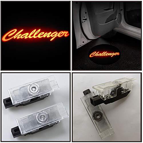 2x Led Light car Door Projector Welcome Logo Emblem Kit For Dodge Challenger 2008-2019year,with glass slide logo no fading color (red challenger ()