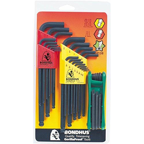 Bondhus 14138 Triple Pack, Balldriver L-wrench Sets #10937 (.050-3/8-Inch) & #10999 (1.5-10mm), and GorillaGrip Star Fold-up Set #12634 (T9-T40)