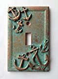 Anchors (Steampunk) Light Switch Cover - Aged Copper/Patina or Stone (Patina)