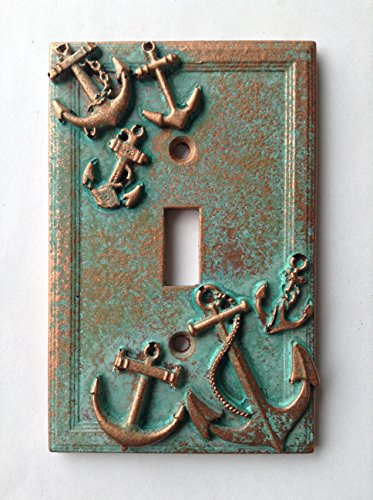 Anchors (Steampunk) Light Switch Cover - Aged Copper/Patina or Stone (Patina) (Nautical Switch Plate)