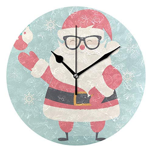 Merry Christmas Hipster Santa Claus Wearing Glasse Wood Wall Clocks Decorative 12in Non Ticking Silent for Living Room Office and Decor (Hipster-glasse)