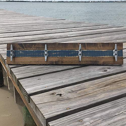 - Nautical Boat Cleat Coat Rack, Towel Rack, or Hat Rack, Walnut and Distressed Blue