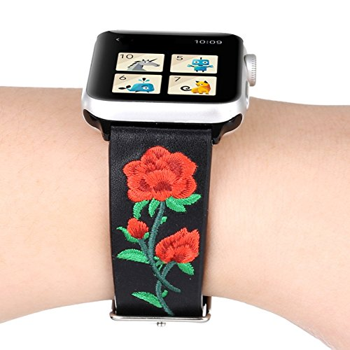 Juzzhou Band For Apple Watch iWatch Series 1/2/3 Edition Leather Embroider Flower Replacement Bracelet Wristband Wriststrap Wrist Strap With Adapter Adjustable Buckle For Woman Lady Girl Black 38mm by Juzzhou (Image #3)