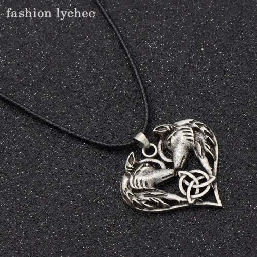 Metal Color: Antique Silver Davitu Fashion Davitu Love Heart Shape Two Wolves Head Pendant Necklace for Men Vintage Black Rope Chain Necklace Trendy Jewelry