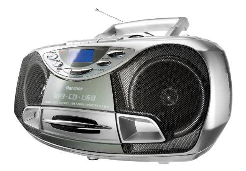 Karcher CD-radio RR 510N – Boombox met cd-speler, FM-radio, cassettespeler, MP3-speler via CD of USB, zilver