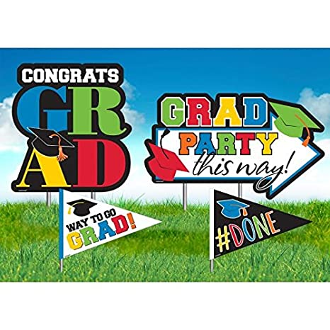 1 Pieces Made from Plastic Congrats Grad by Amscan Colorful Graduation Party Assorted Yard Sign Decoration
