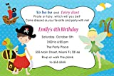 30 Invitations Blue Green Pirate Fairy Design Twins Siblings Baby Shower Birthday Party Personalized Cards + 30 White Envelopes