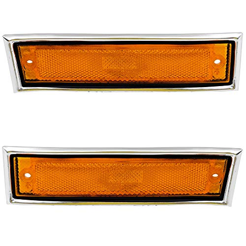 - Driver and Passenger Front Signal Side Marker Lights Replacement Amber with Chrome Trim for Chevrolet GMC Truck 915557 915558