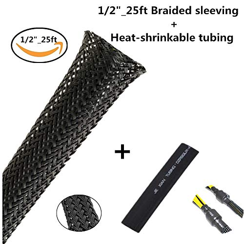 PET Expandable Braided Sleeving 1/2- 25 FT Flexo Cable sleeving Braided Sleeve for Braided Wire Sleeve Management Cord Protecto Cable Sleeve Black Heat Shrink tubing