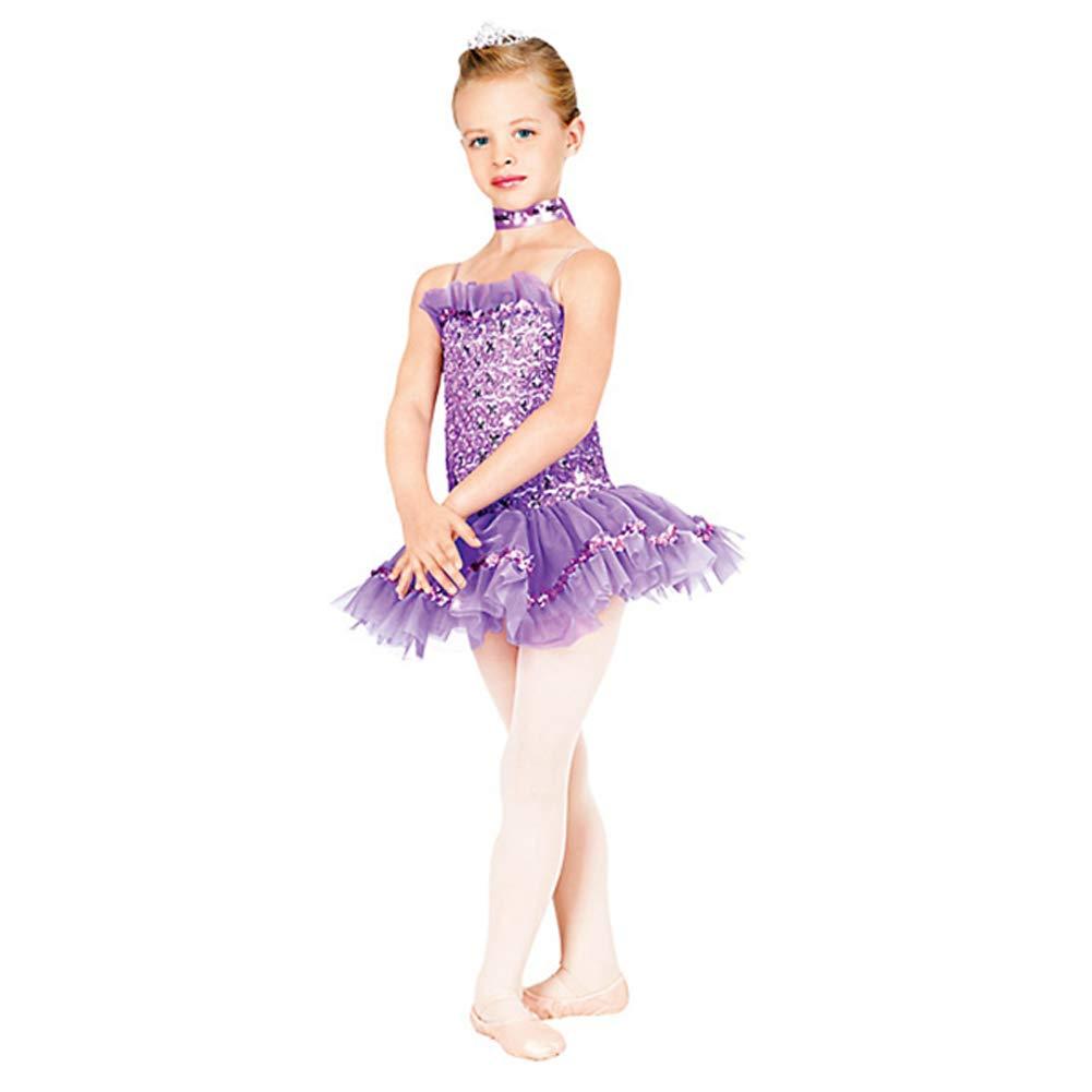 JIE。チュチュ - ガールバレエダンスドレススパンコールスカートチュチュパフォーマンス衣装ステージ衣装、パープル、SC B07PTS6PXF