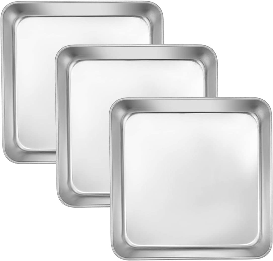 8 Inch Square Cake and Brownie Pan, E-far Square Baking Pans Stainless Steel Bakeware Set of 3, Non-toxic & Healthy, Easy Clean & Dishwasher Safe