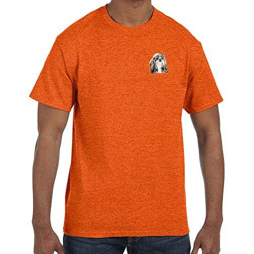 (Cherrybrook Dog Breed Embroidered Mens T-Shirts - X-Large - Antique Orange - Shih Tzu)