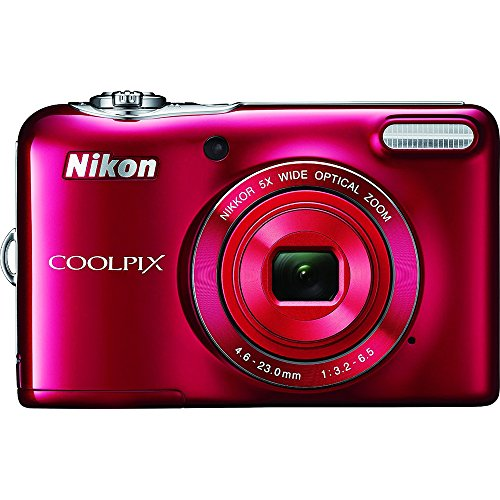 Nikon COOLPIX L32 Digital Camera with 5x Wide-Angle NIKKOR Zoom Lens (Red) (Certified Refurbished) (Operation Refurbished)