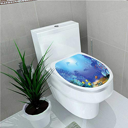 Bathroom Toilet seat Sticker Decal Decor Underwater Coral Reef Polyps Algae Dolphins Goldfishes Bubbles Deep Print Blue W12 x L14 (Polyp Star Coral)