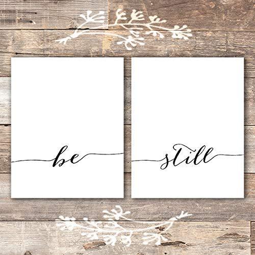 Be Still Wall Art Prints - (Set of 2) - Unframed - 8x10 | Inspirational Wall ()