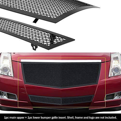 (APS Fit 2008-2013 Cadillac CTS Black Stainless Steel Mesh Grille Grill Insert Combo # A77768H)