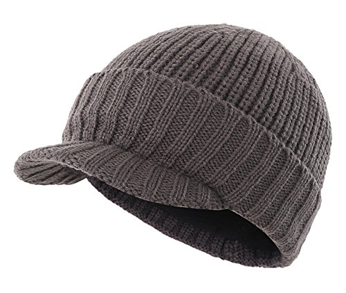(Home Prefer Men's Outdoor Newsboy Hat Winter Warm Thick Knit Beanie Cap with Visor)