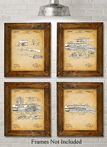 Original Remington Shotguns Patent Prints - Set of Four Photos (8x10) Unframed - Makes a Great Gift Under $20 for Duck/Deer Hunters (Hunting Star)