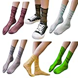 Women Fashion Thin Silk Crew Socks 6 Multi-color Pack Colorful Funny Cool (6 Packs Silk Socks-A)