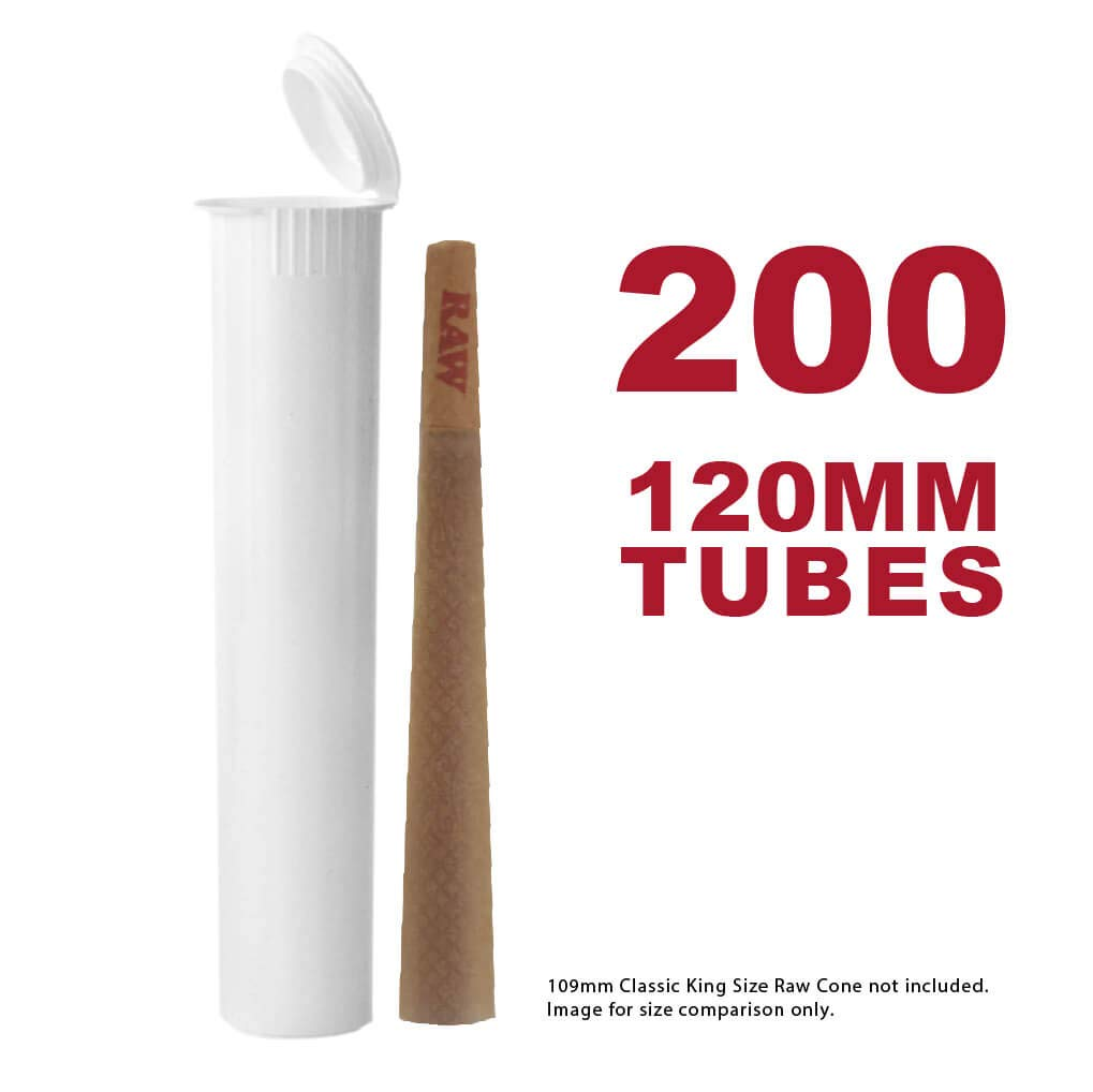 120MM White Doob Tubes | 200 Pack | Waterproof Airtight and Smell Proof Vial Container | Child Resistant with Squeeze Pop Tops | BPA-Free | Ideal for Storing King Size Pre Rolled Raw Cones
