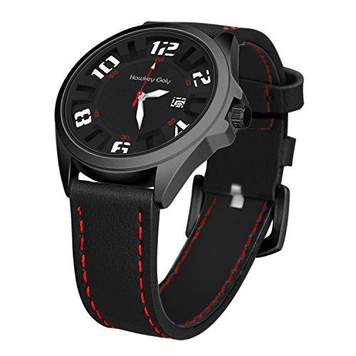 Hawkey Goly Mens Wrist Watch Quartz Analog Watch Leather Band Waterproof Sports Watch with date display