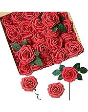 Konstgjorda Blommor, ACDE Konstgjorda Rosor 25st Falska Rosor Skum med Löv Och Justerbar Stjälk för DIY Bröllopsbuketter Bröllopsfest Heminredning(Röd)
