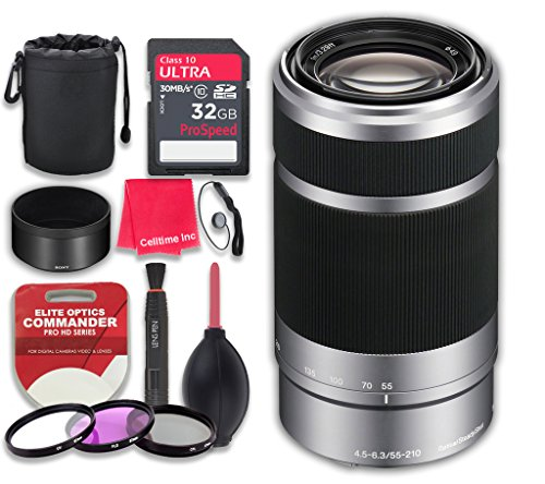 Sony E 55-210mm f/4.5-6.3 OSS E-Mount Lens (Silver) w/ 32GB Ultra Pro Speed Class 10 SDHC Memory Card + 3pc Filter Kit (UV-FLD-CPL) + Deluxe Sleeve + Microfiber Cleaning Cloth - International Version (18200 E Mount)