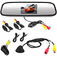 Pyle Wireless Backup Car Camera Rearview Mirror Monitor System - Parking & Reverse Safety Distance Scale Lines, Night Vision & Waterproof Cam, 4.3 LCD Display - (PLCM4370WIR)