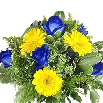 Premium Blumenstrauß blau und gelb - Rosen, Gerbera und mit Grünem ...