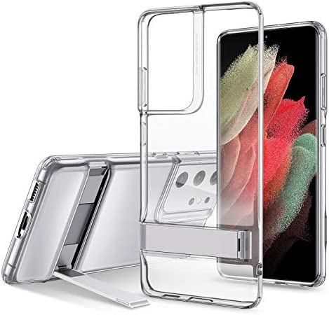 ESR Metal Kickstand Case Compatible with Samsung Galaxy S21 Ultra (6.8-Inch) (2021) [Reinforced Drop Protection] [Portrait and Landscape Stand], Clear
