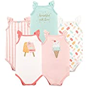 Hudson Baby Baby Sleeveless Cotton Bodysuits, 5 Pack, Ice Cream, 9-12 Months