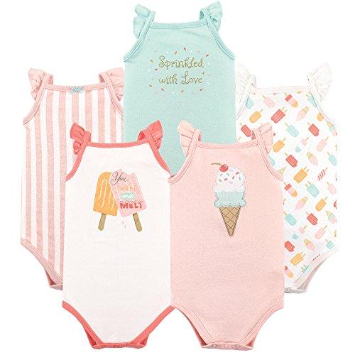 Hudson Baby Baby Sleeveless Cotton Bodysuits, 5 Pack, Ice Cream, 0-3 Months