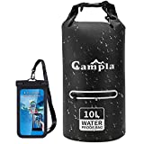 Campla Waterproof Dry Bag 10L 20L, Roll Top Lightweight Floating Dry Sack Backpack Storage Bag w/Waterproof Phone Case Zipped Pocket for Kayaking, Rafting, Boating Water Sports