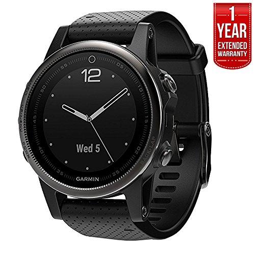 Garmin Fenix 5S Sapphire Multisport 42mm GPS Watch - Black with Black Band (010-01685-10) + 1 Year Extended Warranty by Garmin