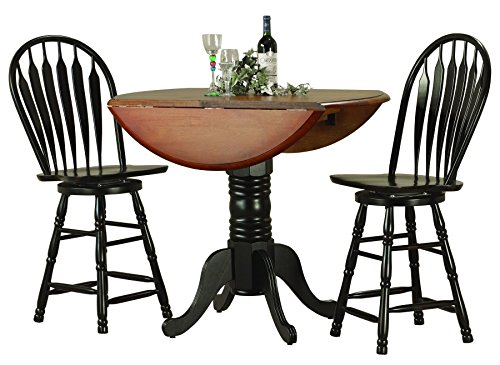 "Sunset Trading 3 Piece Drop Leaf Pub Table Set with 24"" S..."