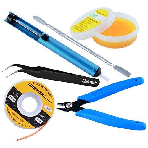 EopZol™ 6PC Soldering Kit w/Desoldering Pump Tweezers Cutters Flux Wick Scraper