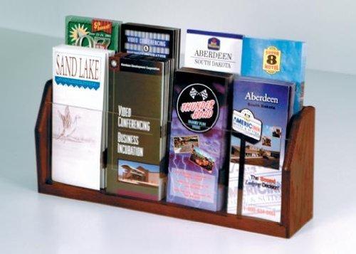 Wooden Mallet LT-8 Oak & Acrylic Eight Pocket Countertop Brochure Holder/Rack in Dark Red - Tract Display
