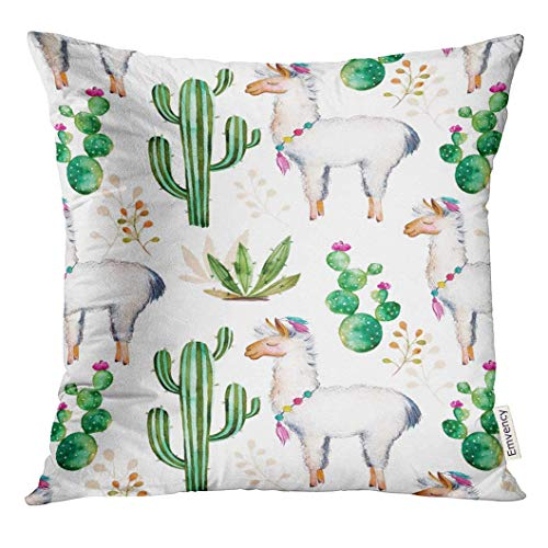 2019 new fashion Throw Pillow Cover High Hand Watercolor for Your with Cactus Plants Flowers and Lama for Unique Creation Blogs Decorative Pillow Home Decor Square 18x18 Inches Pillow]()