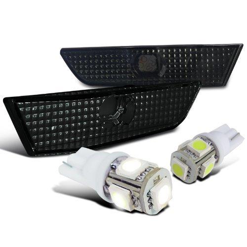 Infiniti G35 2Dr Smoke Side Marker Bumper Lights+White T10 LED Bulbs