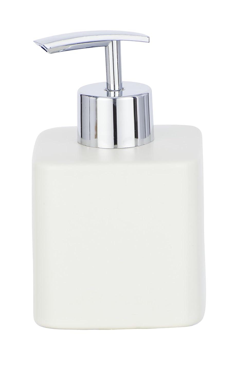 Wenko Dispenser di sapone Hexa Dispenser Dosatore dispenser per sapone liquido, Capacità 0.29L, Ceramica, Crema, 8.5x 7.5x 13cm Capacità 0.29L 8.5x 7.5x 13cm 23242100