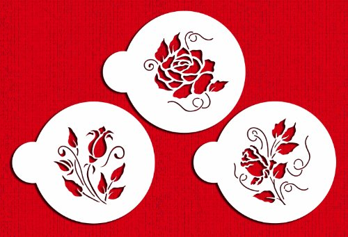 Designer Stencils C809 Roses are Red Cookie Stencil Set, Beige/Semi-Transparent