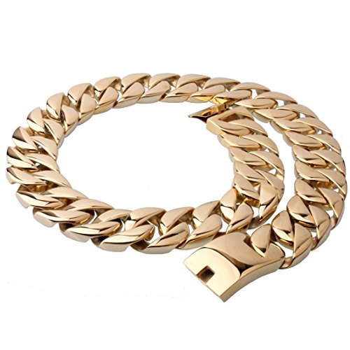 (Super Huge 31mm Stainless Steel Gold Tone Curb Cuban Link Chain Necklace Bracelet for Cool Men(24 inches))