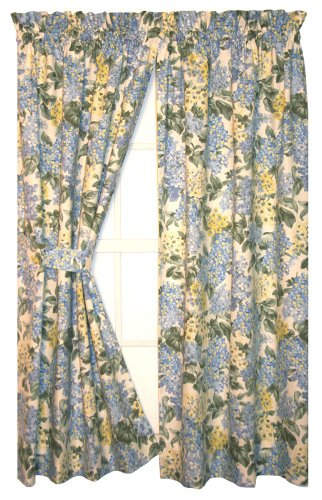 Hydrangea Floral Print Tailored Panels Curtains Pair 68-Inch-by-84-Inch