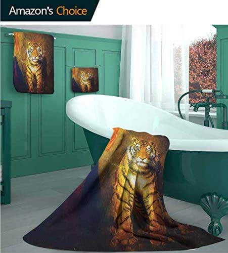 Safari Decor Collection Microfiber Beach Towels Set 3 Pack, Tiger on a Leash and Woman Walking Hand Dark Colors Oil Painting Effect Stripes Image, Luxurious 100% Cotton, Heavy Weight & Absorbent,
