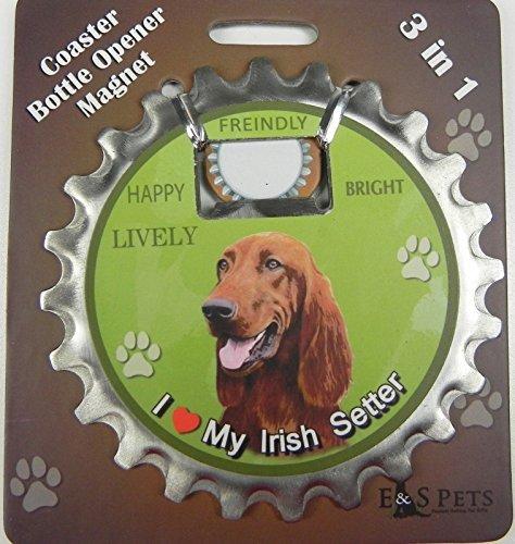 E&S Pets Irish Setter Bottle Opener, Coaster and Magnet