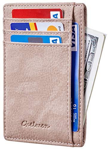 Chelmon Slim Wallet RFID Front Pocket Wallet Minimalist Secure Thin Credit Card Holder (Vinti Sandy Stone) (Thin Credit Card Holder And Id Wallet)